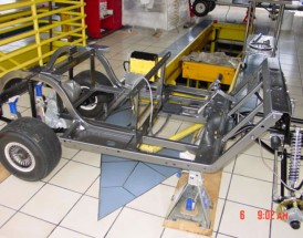After we weld, grind and drill on the Chassis, it goes to the Sand Blaster, then to the Powder Coater. We start the assembly work, such as install the rear end, front end and start the 3 Different wiring harnesses.